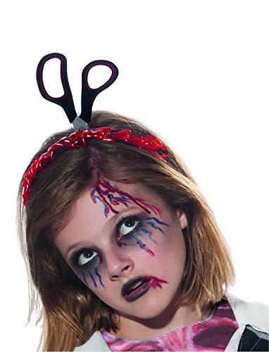 costumebakery - Kostüm Accessoires Zubehör Kopfbedeckung Blutige Schere im Kopf (Attrappe), Diadem Bloody Scissors in Head (Dummy), perfekt für Halloween Karneval und Fasching, Silber