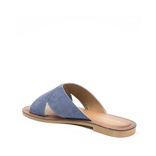 Ideal Shoes - Mules plates avec lanières croisées Bea Bleu