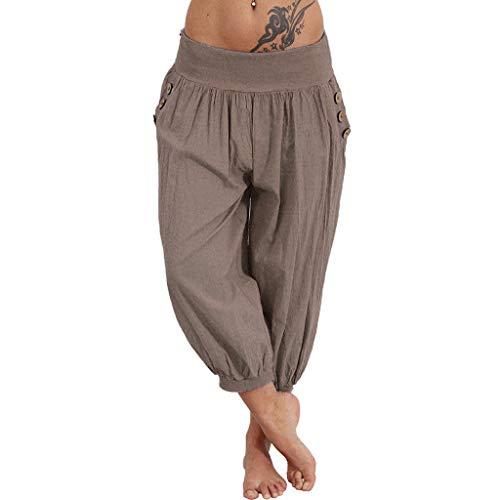 Riou Damen Yogahose Capri Hose Damen Sommer 3/4 Weites Bein Große Größen Lose Baumwolle Stretch Blickdicht Casual Haremshose Stoffhose Pumphose Günstig (5XL, Braun) -