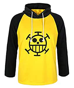 CoolChange One Piece Trafalgar Law Kapuzen Longsleeve mit Jolly Roger der Heart Piratenbande (Small)