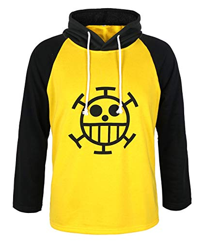 CoolChange One Piece Trafalgar Law Kapuzen Longsleeve mit Jolly Roger der Heart Piratenbande (Medium)