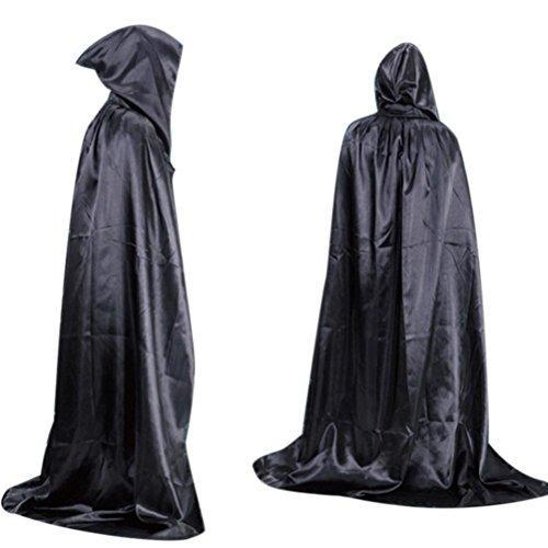 kostüm,Halloween Tod Umhang Umhang Erwachsener langen Abschnitt der Boden Masquerade wischend (Schwarz) (Blow Up Einhorn Kostüm)