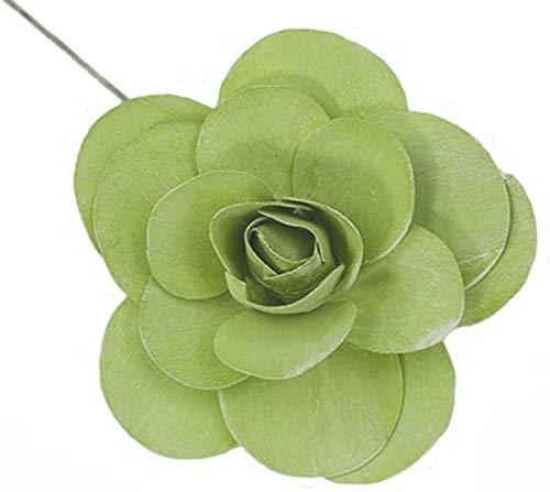Holzrosen Kiwi grün weiß Gewaschen 12 Stück Tischdeko Ø 11cm Grabgestecke Bastelmaterial Holz Rose Dekorosen Kunstrosen Blumendeko