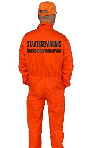 Jail Kostüm County - Coole-Fun-T-Shirts STAATSGEFÄNGNIS HOCHSICHERHEITSTRAKT Kostüm Set Overall + Cap Orange 48