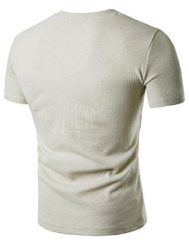 YCHENG Herren Basic Henley T-Shirts Kurzarm mit Knopfleiste Beige
