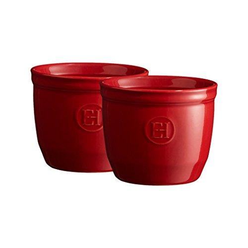 Emile Henry Eh344008 Le N°8 Set de 2 Ramequins Céramique Rouge Grand Cru 8,5 X 8,5 X 7 cm