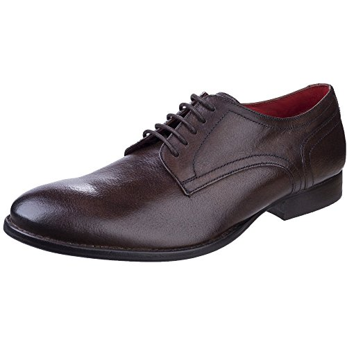 Base London Mens Ford Formal Lined Grain Leather Derby Shoes Brown