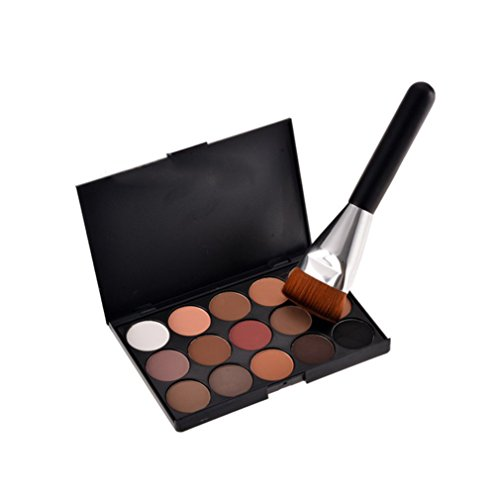 Gracelaza Pro 1 Stück Make Up Pinselset + 15 Farben Lidschatten Palette Makeup (Tube Pro Make Braun Up)