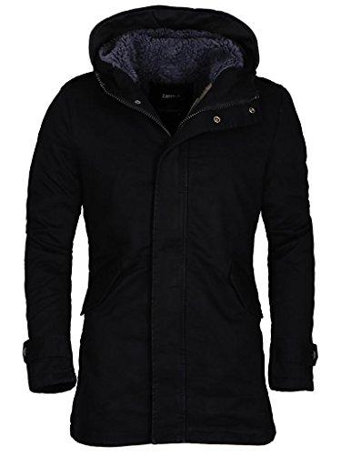 MERISH Hommes Manteau d'hiver avec col montant Parka avec capuché doublure chaude, Modell 89 Noir