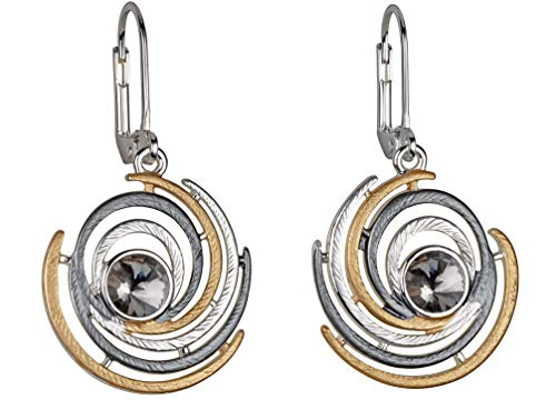 Perlkönig | Damen Frauen | Ohrringe Set | Ear Cuffs | Runde Illusion in Gold Silber Schwarz | Tricolor | Zirkonia Stein | Klappverschluss | Nickelfrei
