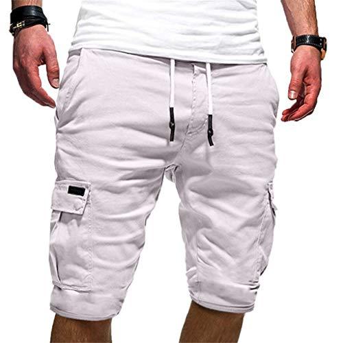 Aiserkly Männer Sport Reine Farbe Verband beiläufige lose Jogginghose Drawstring Shorts Hose Weiß M