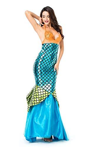 VENIMASEE Frauen Meerjungfrau/Meerjungfrau Kleid Halloween Cosplay -