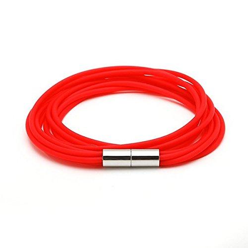 Chic-Net-Silicone colori bracciali bracciale lacci in silicone 5strati multistrato chiusura magnetica unisex, colore: rosso, cod. AS-S-36xin-rt