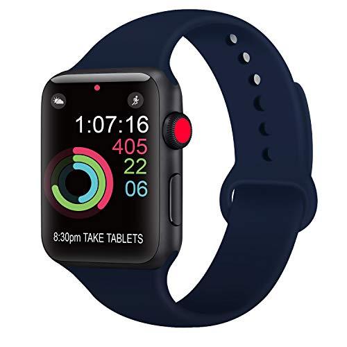 AK kompatibel mit für Apple Watch Armband 42mm 38mm 44mm 40mm, Weiche Silikon Sport Ersatz Armbänder kompatibel mit für iWatch Series 4, Series 3, Series 2, Series 1 (03 Marineblau, 42/44mm S/M)