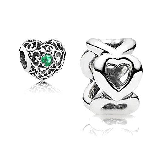 [A] Original Pandora Geschenkset - 1 Silber Charm 791784NRG Mai-Herz + 1 Silber Zwischenelement 790454 Gereihte Herzen