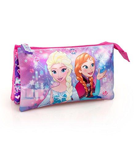 Disney Frozen 59121 Portatodo triple, Neceser de Viaje, 22 cm, 1.32 Litros, Elsa, Anna
