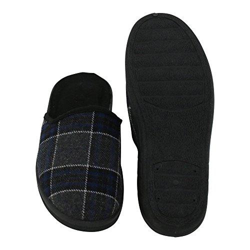 Herren Hausschuh Karierte-Pantoffeln Schluppen - optimaler Komfort und flexibilität - Farben: Grau/Rot und Grau/Blau - Größen: 40-45 - von Brandsseller Grau/Blau