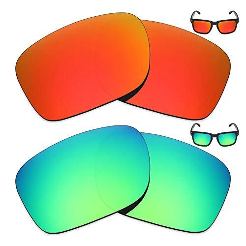 MRY 2Paar Polarisierte Ersatz Gläser für Oakley Holbrook Sonnenbrille-Reiche Option Farben, Fire Red & Emerald Green