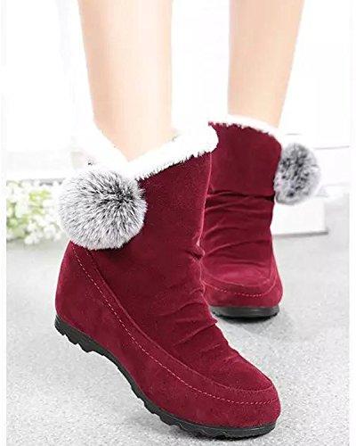 Minetom Femmes Filles Hiver Chaud Bottes De Neige Anti Slip Suède Cuir Chaussures Boots Classique Court Bottes Rouge