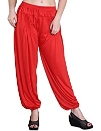 Jollify Solid Cotton lycra Red Harem Pants