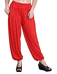 Myshka Womens Red Solid Cotton Lycra Harem Pants_HM06RED-Free
