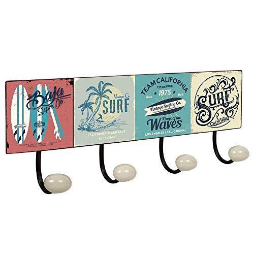 POMOLINE Percha Pared Vintage 4 Ganchos Porcelana Surf Retro 400x155MM
