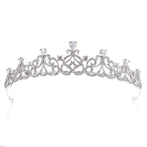 Damen Tiara Princess Crown Schmuck Hochzeit Tiara Strass Dekor Braut Krone Herzförmigen Haarschmuck Für Prom Festzüge Prinzessin Parties Geburtstag Kopfschmuck für Mädchen Abschlussball Geburtstag