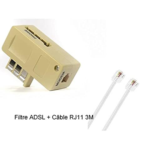 CABLING® Filtre ADSL + Câble RJ11/RJ11 Cat 5 m/m - 3m de couleur gris cable et prise gigogne ADSL2 pour raccorder une ligne France Telecom.