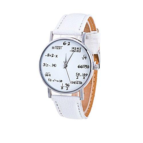 Covermason Mujer Moda Matemáticas Patrón Cuarzo Relojes de pulsera Blanco