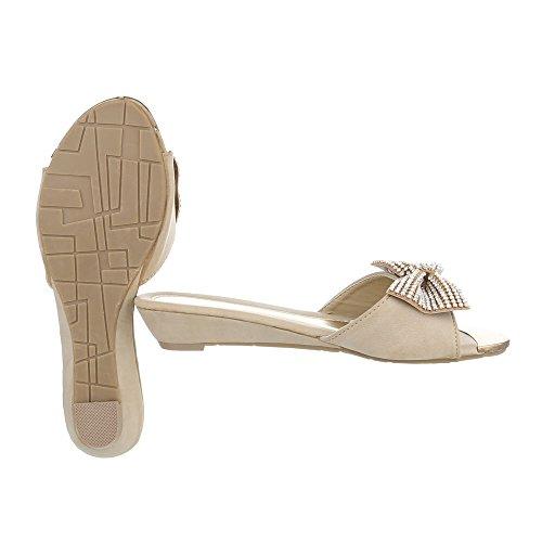 Pantoletten Damenschuhe Jazz & Modern Keilabsatz/ Wedge Strass Besetzte Ital-Design Sandalen / Sandaletten Beige N1180-8