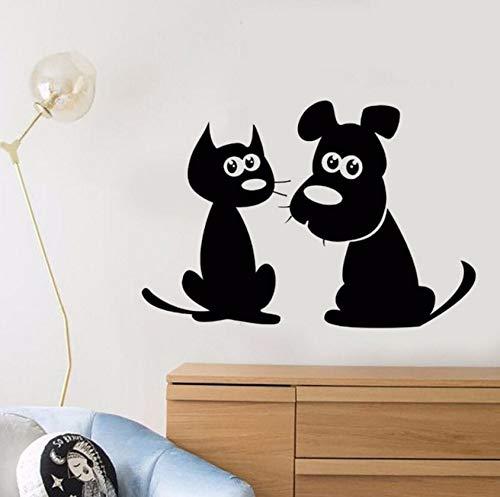 Cartoon Cat Dog Wall Decal Removable Puppy Pet Shop Decor Animal Friends Sticker Cute Pets Vinyl Wall Mural 57X39Cm ()