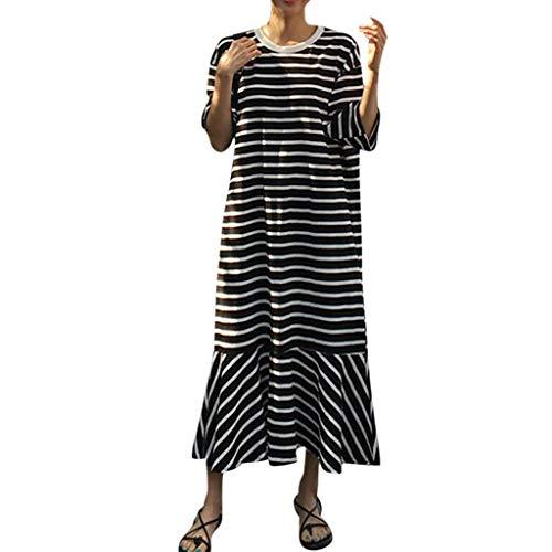 roße Größen 3/4 Arm Kleid Gestreiftes Maxikleid mit Gekräuselte Geraffte Saum Umstandkleid Schwinge Strandkleid für Mollige Kleid für Urlaub bis Gr.52 (Schwarz, Gr.48) ()