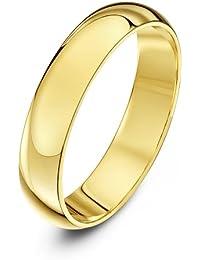 Theia Alianza unisex de oro (9k), en forma de D, pesada, pulido