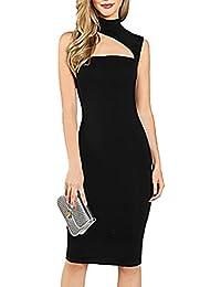 ec28c7115138 MYWY Abito donna tubino elegante vestito aderente con dettaglio ritaglio  scollo asimmetrico sexy