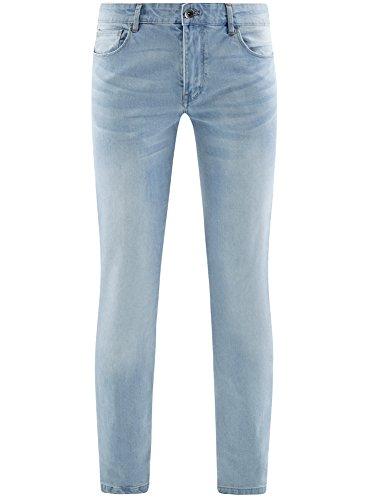 oodji Ultra Herren Jeans Slim Fit Basic Blau (7000W)