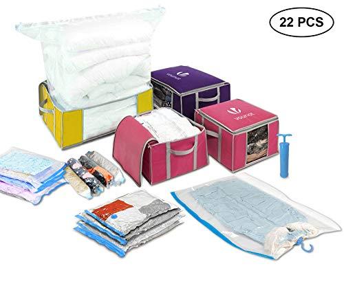 Nouvot sacchetti sottovuoto salvaspazio 15 pezzi & pieghevole borsa organizzatore 4 pezzi, per vestiti, piumoni, biancheria da letto, coperte, lenzuola, con pompa