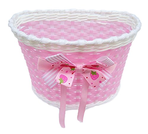 Kentop Bicycle Front Basket with Bow on Front Bicycle Decoration Accessory for Girls Kids Bicycle