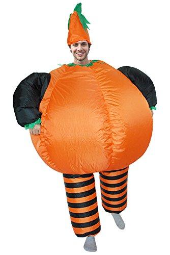 Smileshop Aufblasbares Kürbis Cosplay Fasching Zweite Haut Anzug Karneval Luftschiff Kostüm für Erwachsene