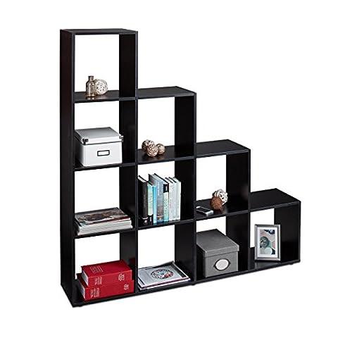 Relaxdays Etagère escalier 10 compartiments bibliothèque escalier armoire séparateur pièce,