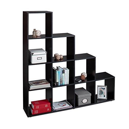 Relaxdays Stufenregal Holz, 10 Fächer, Treppenregal als Raumteiler und Bücherregal, für Schuhe...