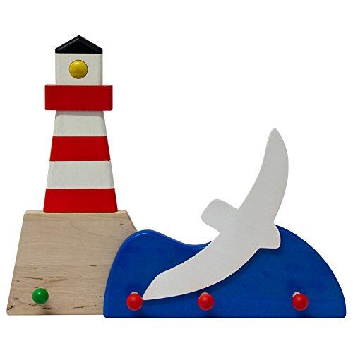 Garderobe Leuchtturm mit Möve - farbig