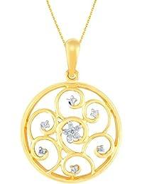 Silvernshine Diamond Accent Open Swirl Circle Pendant 14k Yellow Gold Fn .925 Sterling Silver
