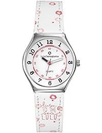 LuluCastagnette - 38787 - Montre Fille - Quartz Analogique - Cadran Blanc - Bracelet Cuir Multicolore