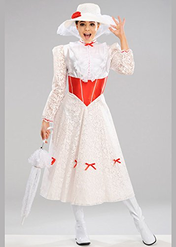 Magic Box Int. Damen White Jolly Holiday Mary Poppins Kostüm Large (UK 16-18) (Für Damen Boxen-kostüm)