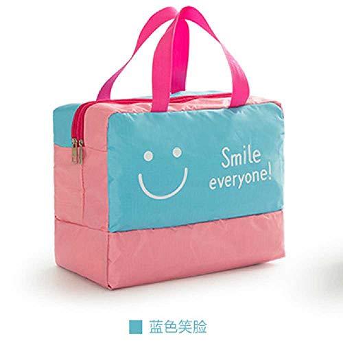 DERALIN Strand Schwimmen Tasche Wasserdichte Tasche Aufbewahrungstasche Bademantel Tasche Waschbeutel Blaues Smiley