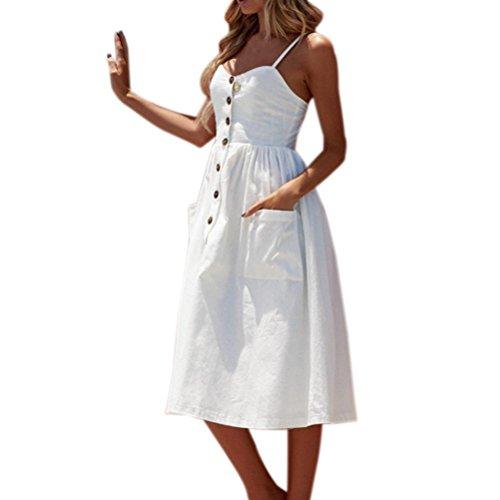 ttertag Geschenk Sommer Coole Knöpfe Solid Off Schulter Mode Ärmelloses Kleid Prinzessin Kleid Strandkleid (EU-36/CN-S, Weiß) (Rosa Prinzessin Kleid Erwachsene)