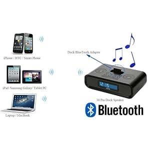 Xgeek Noir--Audio Bluetooth Musique Récepteur Adaptateur Bose SoundDock (PAS pour les personnes âgées ou de première génération) et 30-Pin iPhone iPod Haut-Parleur Dock