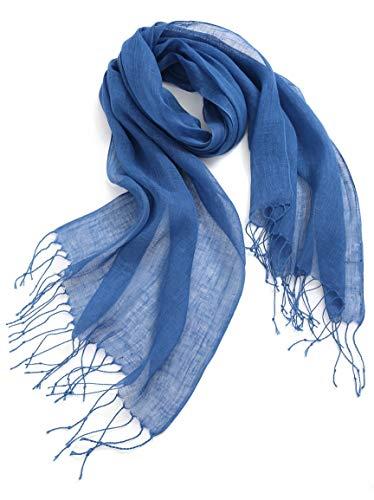 Damen Fransen (prettystern - Einfarbiger Damen Herren 100% Leinen Frühling & Sommer Fransen Schal - T51 Jeansblau)