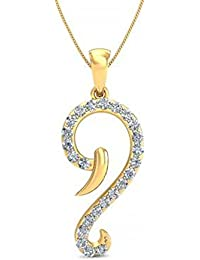 Silvernshine Daily Wear Fancy Pendant With Chain In 14K Yellow Gold Fn 1.2Ct White CZ Diamond