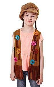 Bristol Novelty CF047 Chaleco Niña Hippie, Mediano, 122-134 cm, Edad aprox 5-7 años